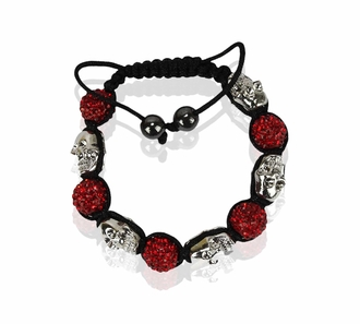 LSB0050- Red Skull Crystal Disco Ball Bead Bracelet