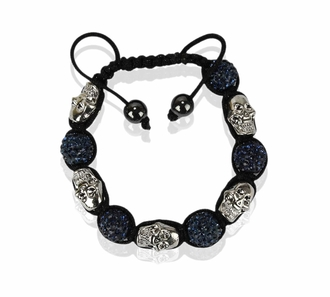 LSB0050- Navy Skull Crystal Disco Ball Bead Bracelet