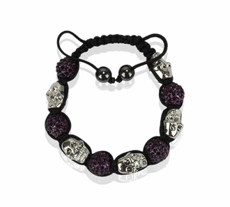 LSB0050- Purple Skull Crystal Disco Ball Bead Bracelet