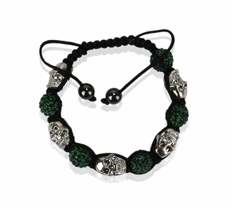 LSB0050- Green Skull Crystal Disco Ball Bead Bracelet
