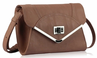 LSE00174 - Nude Flapover Clutch Purse