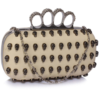 LSE00184 - Ivory Women's Knuckle Rings Evening Bag