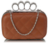 LSE00189 - Brown Knuckle Clutch/Crossbody purse