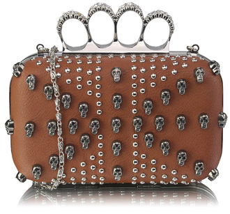 LSE00197- Brown Women's Knuckle Rings Evening Bag