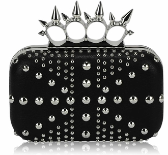LSE00185- Black Women's Studded Evening Bag