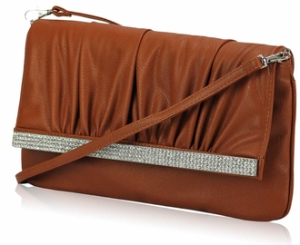LSE00187- Brown Flapover Clutch Purse