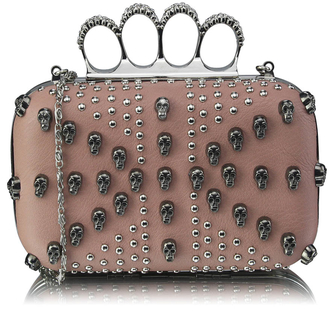 LSE00197- Nude Women's Knuckle Rings Evening Bag