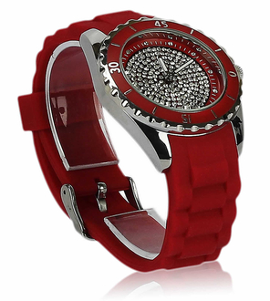 LSW0011- Women's Red Crystal Watch
