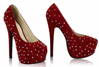 LSS00108 - Red Spike Stud Platform Court Shoes