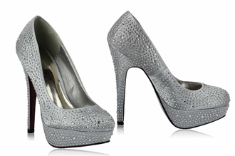 LSS00106 - Silver Diamante Embellished Platform Shoes