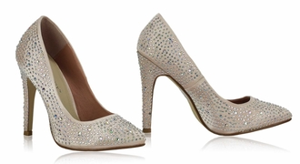 LSS00102 - Champagne Diamante Embellished High Heel Court Shoes