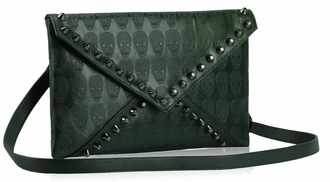 LSE00181 - Green Skull Flapover Clutch Purse