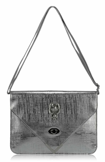 LSE00186 - Silver Skull Flapover Clutch Purse