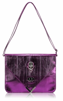LSE00186 - Purple Skull Flapover Clutch Purse