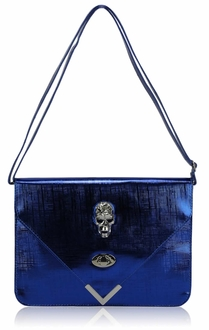 LSE00186 - Blue Skull Flapover Clutch Purse