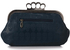 LSE00196 - Navy Sparkly Crystal Satin Evening Clutch