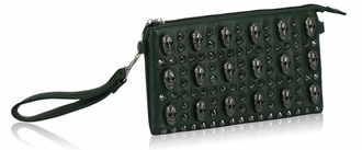 LSE00182 - Green Skull  Clutch Purse