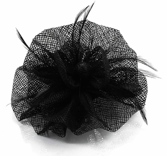 LSH00132- Black Feather & Mesh Flower Fascinator