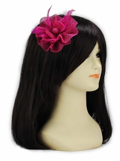 LSH00132- Pink Feather & Mesh Flower Fascinator