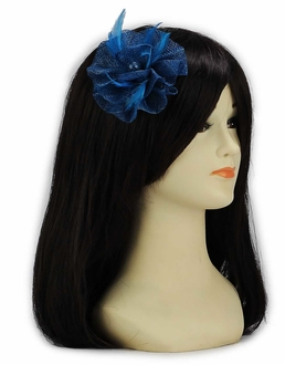 LSH00132- Teal Feather & Mesh Flower Fascinator