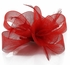 LSH00153 - Red Feather & Mesh Flower Fascinator on Clip