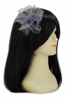 LSH00152 - Grey Feather & Mesh Flower Fascinator on Clip
