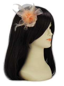 LSH00152 - Nude Feather & Mesh Flower Fascinator on Clip