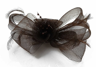 LSH00149 - Coffee Feather & Mesh Flower Fascinator on Clip