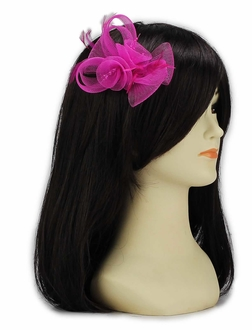 LSH00149 - Pink Feather & Mesh Flower Fascinator on Clip
