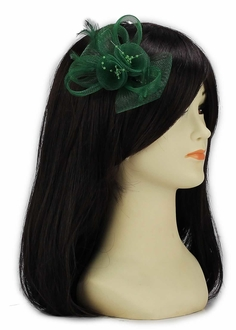 LSH00149 - Green Feather & Mesh Flower Fascinator on Clip