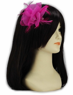 LSH00150 - Pink Feather & Mesh Flower Fascinator on Clip