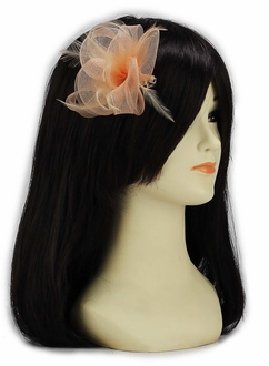 LSH00150 - Nude Feather & Mesh Flower Fascinator on Clip
