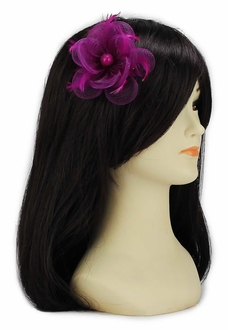 LSH00147- Fuchsia Feather & Mesh Flower Fascinator on Clip
