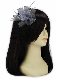 LSH00151- Grey Feather & Mesh Flower Fascinator on Clip