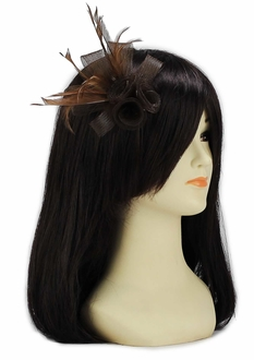 LSH00151- Coffee Feather & Mesh Flower Fascinator on Clip