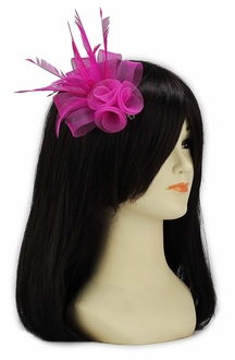 LSH00151- Pink Feather & Mesh Flower Fascinator on Clip