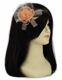 LSH00154- Nude Feather & Mesh Flower Fascinator on Clip