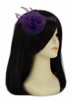 LSH00155 - Purple Feather & Mesh Flower Fascinator on Clip