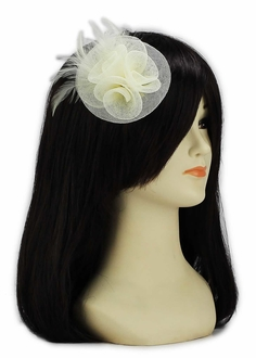 LSH00155 - Ivory Feather & Mesh Flower Fascinator on Clip