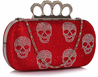 LSE00198- Red Women's Knuckle Rings Evening Bag