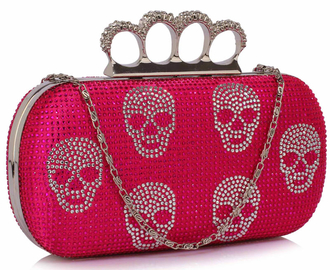 LSE00198- Wholesale & B2B Fuschia Women's Knuckle Rings Evening Bag Supplier & Manufacturer