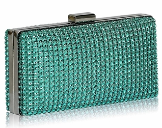 LSE0029 - Teal Sparkly Diamante Evening Clutch