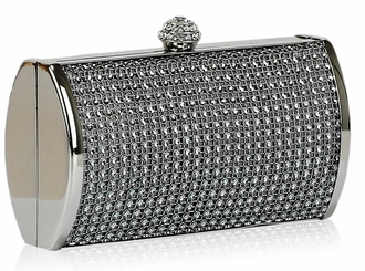 LSE0081 - Grey Sparkly Diamante Evening Clutch