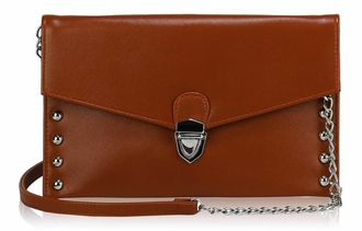 LSE00201 - Brown Studded Flapover Clutch Purse