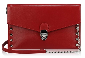 LSE00201 - Red Studded Flapover Clutch Purse