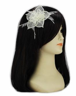 LSH00141 - Ivory Feather and Mesh Flower Fascinator