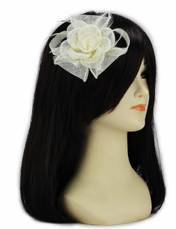 LSH00125 - Ivory Feather and Mesh Flower Fascinator