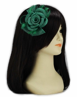 LSH00125 - Green Feather and Mesh Flower Fascinator
