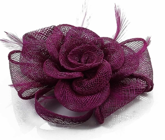 LSH00125 - Purple Feather and Mesh Flower Fascinator