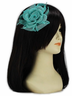 LSH00125 - Emerald Feather and Mesh Flower Fascinator